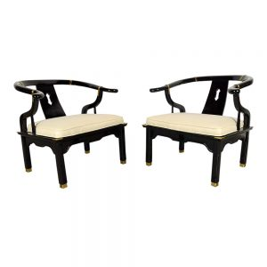 Pair of Modern-style Horse Shoe Armchairs