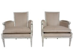 Antique French Louis XVI-style Pair of Bergeres