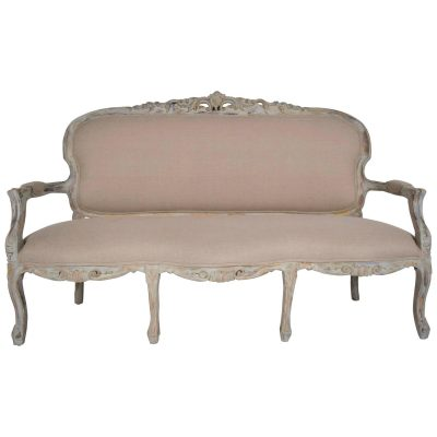 Antique French Louis XV-style Gilt Painted Carved Sofa