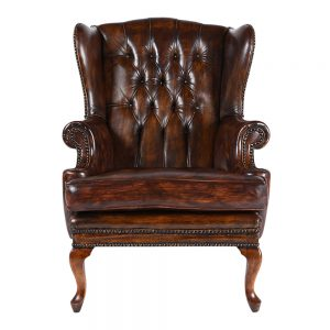 Antique Regency-style Tufted Wingback Chair