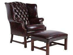 Vintage Chesterfield-style Wingback Chair and Footrest